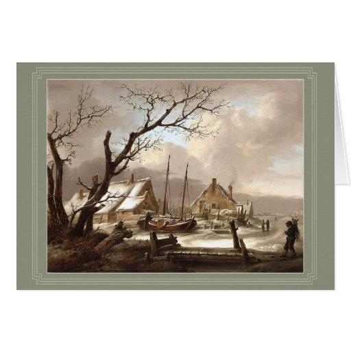 tarjeta de felicitación de la pintura del invierno