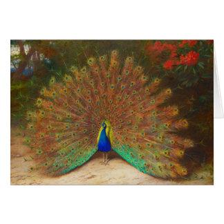 Tarjeta de felicitación de la pintura del pavo rea