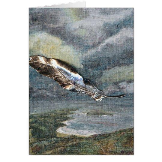 """Tarjeta de felicitación de la pluma del """"vuelo"""
