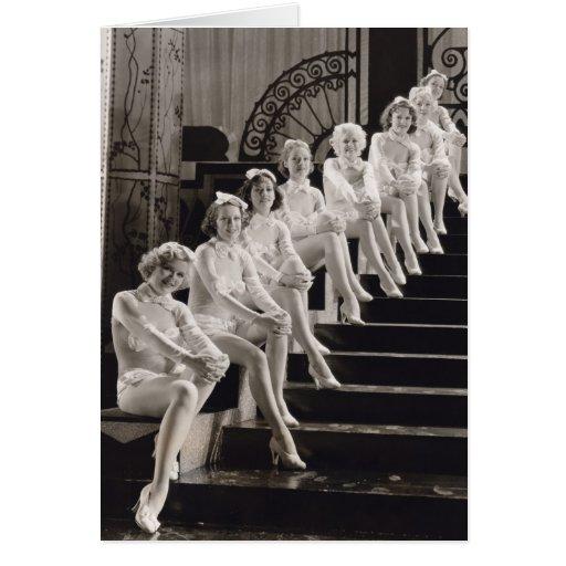 Tarjeta de felicitación de la postal de los chicas