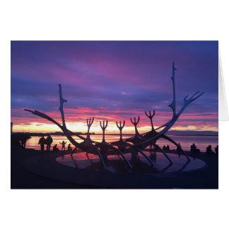 tarjeta de felicitación de la puesta del sol de