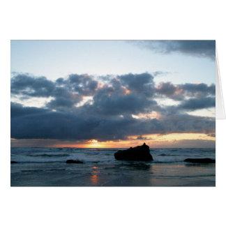 Tarjeta de felicitación de la puesta del sol de la