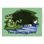 Tarjeta de felicitación de la rana de la pesca con