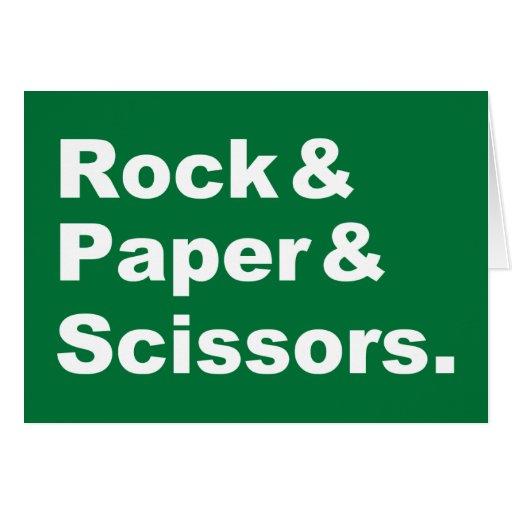 Tarjeta de felicitación de la roca y del papel y d