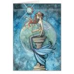 Tarjeta de felicitación de la sirena de la luna de