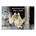 Tarjeta de felicitación de la sonrisa - Gibbon