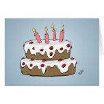 Tarjeta de felicitación de la torta de cumpleaños