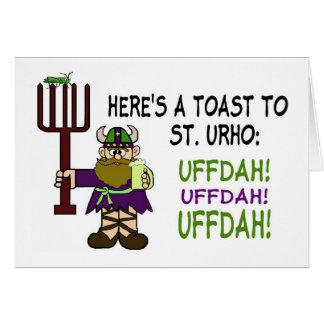 Tarjeta de felicitación de la tostada del día del