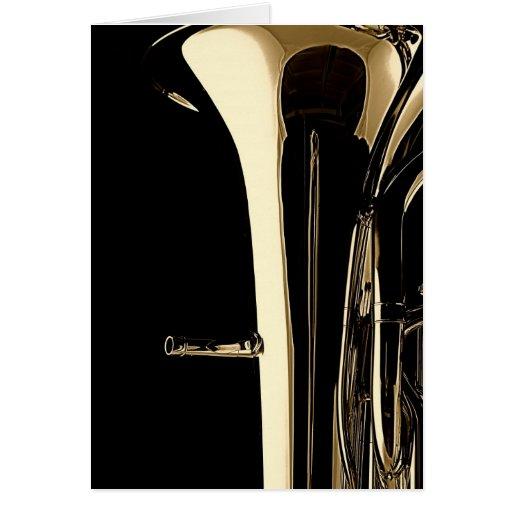 Tarjeta de felicitación de la tuba para los músico