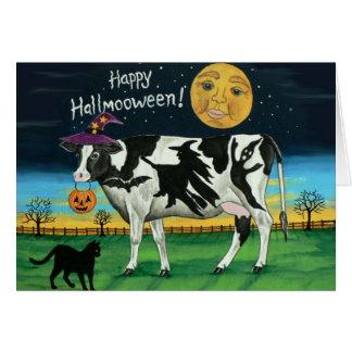 Tarjeta de felicitación de la vaca de Halloween