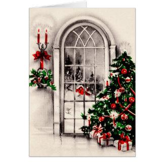 Tarjeta de felicitación de la ventana del navidad