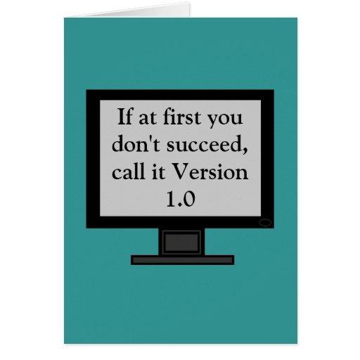 Tarjeta de felicitación de la versión 1,0