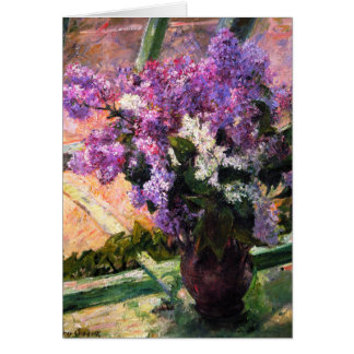 Tarjeta de felicitación de las lilas de Mary Cassa