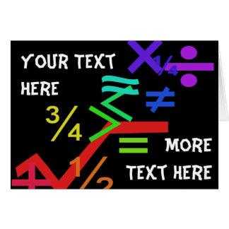 Tarjeta de felicitación de las matemáticas