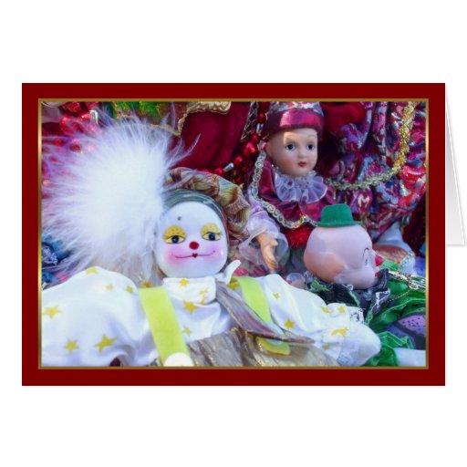Tarjeta de felicitación de las muñecas del payaso