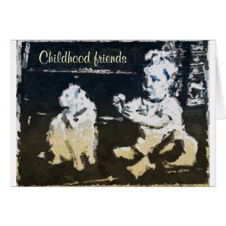 Tarjeta de felicitación de los amigos de la niñez