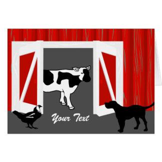 Tarjeta de felicitación de los animales del graner