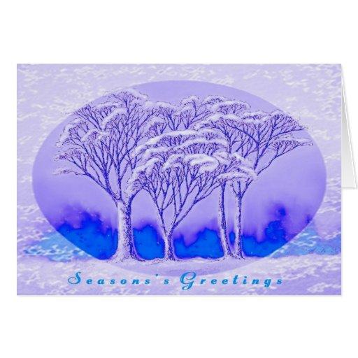 Tarjeta de felicitación de los árboles del inviern