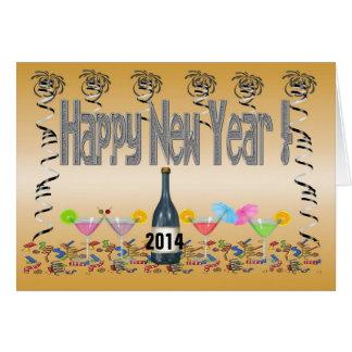 Tarjeta de felicitación de los cócteles del Año Nu