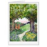 Tarjeta de felicitación de los conejos de Pascua