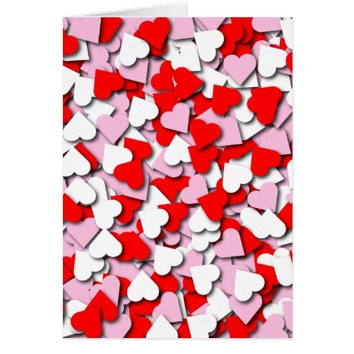 Tarjeta de felicitación de los corazones del confe