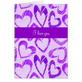 Tarjeta de felicitación de los corazones púrpuras