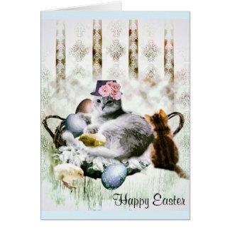 Tarjeta de felicitación de los gatitos de Pascua