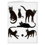 Tarjeta de felicitación de los gatos negros