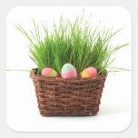 Tarjeta de felicitación de los huevos de Pascua Pegatina Cuadrada