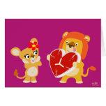 Tarjeta de felicitación de los leones del amor