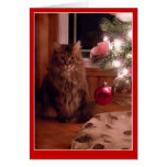 Tarjeta de felicitación de los ornamentos del gato