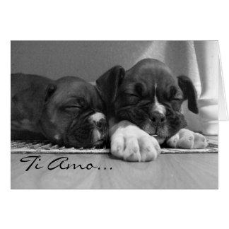 Tarjeta de felicitación de los perritos del boxead