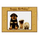 Tarjeta de felicitación de los perritos del feliz