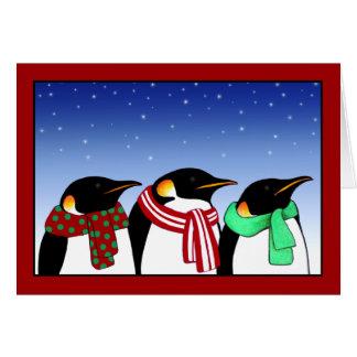 Tarjeta de felicitación de los pingüinos del navid