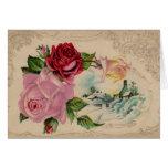 Tarjeta de felicitación de los rosas de invierno d