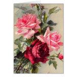 Tarjeta de felicitación de los rosas rosados y roj