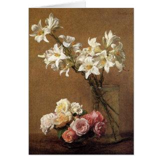 Tarjeta de felicitación de los rosas y de los liri