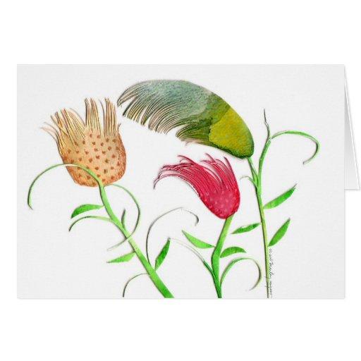Tarjeta de felicitación de los tulipanes del día v
