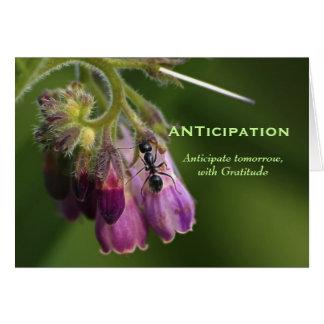 Tarjeta de felicitación de motivación de la hormig