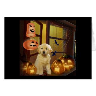 Tarjeta de felicitación de oro de Halloween del pe
