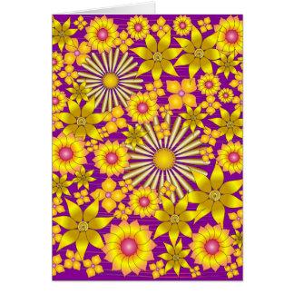 Tarjeta de felicitación de oro de las flores