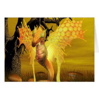 Tarjeta de felicitación de oro del dragón