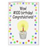 Tarjeta de felicitación de papel feliz de 100 cump