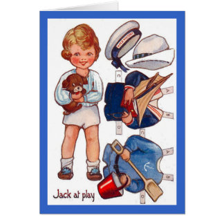 Tarjeta de felicitación de Paperdoll Little Boy