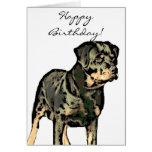 Tarjeta de felicitación de Rottweiler del feliz cu
