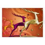 Tarjeta de felicitación de salto del reno tres