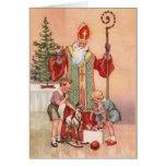 Tarjeta de felicitación de San Nicolás del vintage
