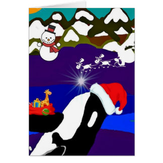 Tarjeta de felicitación de Santa de la orca del dí