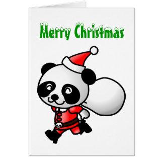 Tarjeta de felicitación de Santa de la panda