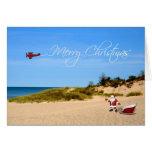 Tarjeta de felicitación de Santa de la playa